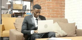 Businessman working remotely