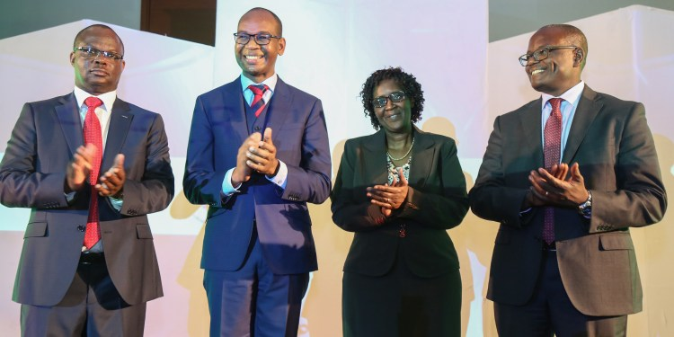 From left to right KCB Group Insurance Agency Managing Director Peter Kathanga, KCB Group Chief Executive Officer Joshua Oigara, Insurance Regulatory Authority Chief Technical Officer Agnes Ndirangu and Liberty Life Insurance Kenya Managing Director Abel Munda during the launch of KCB Elimisha Insurance product for securing education policy.