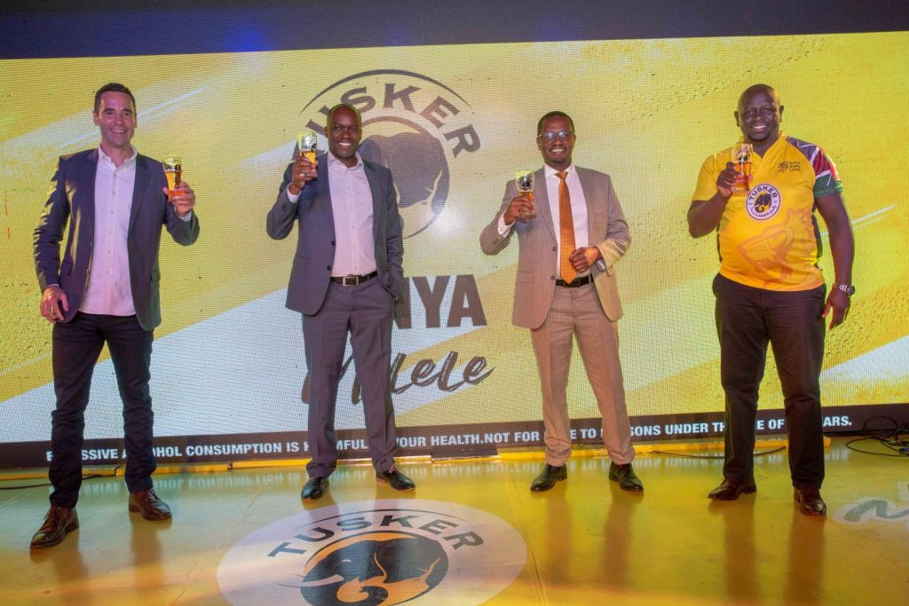 From Left: East African Breweries Limited (EABL) Marketing & Innovations Director Graham Villiers-Tuthill (Left) and Kenya Breweries Limited (KBL) MD John Musunga, EABL's Corporate Relations Director, Erick Kiniti and EABL's Commercial Director, Joel Kamau during the official launch of the Kenya Milele Campaign at K1 Club House in Nairobi - Bizna Kenya