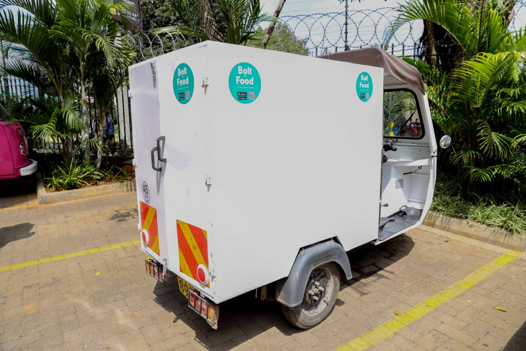 An image of an electric tuk tuk launched by Bolt in Nairobi as the company seeks to fulfil the demand for light, smart and green modes of transport. The initiative will also serve to eliminate the challenges associated with constant fluctuating fuel prices which currently form the most significant operating cost for drivers and couriers - Bizna Kenya