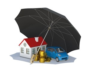 Black umbrella covers home, car and money. Isolated on white background