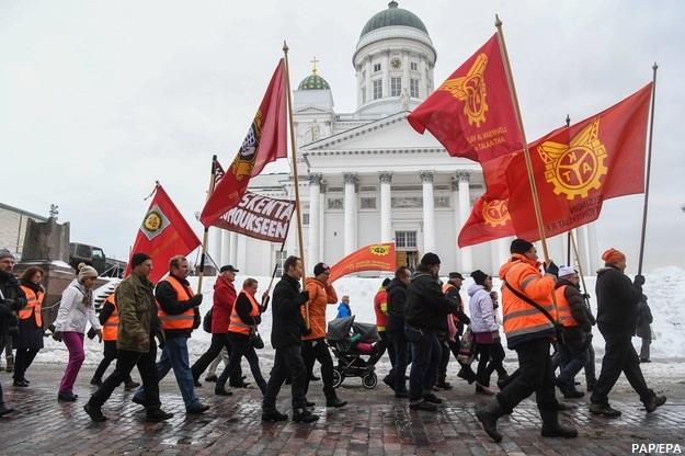Ogólnokrajowy strajk z powodu cięć zasiłków dla bezrobotnych w Finlandii