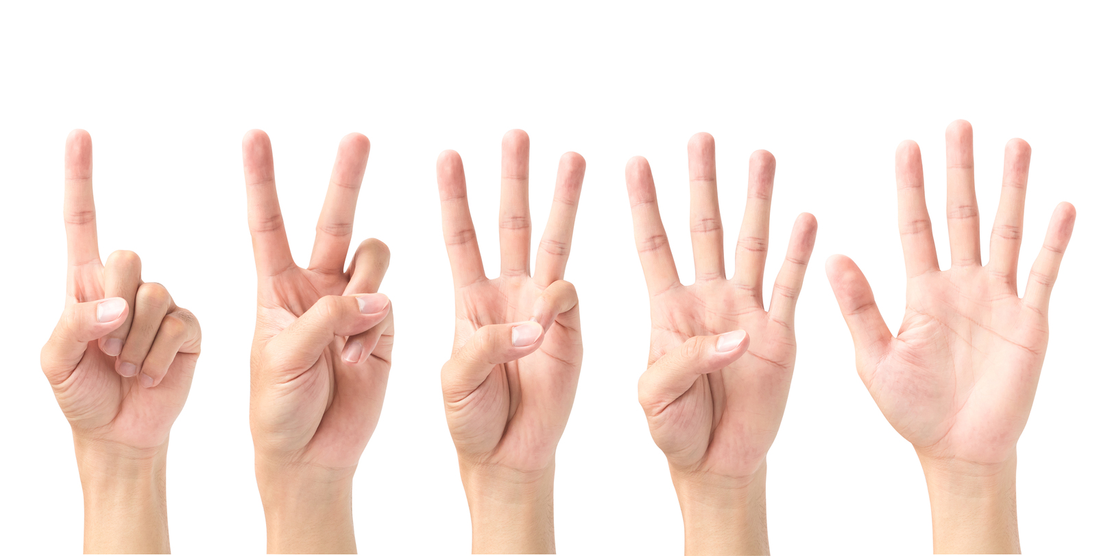 Set Of Number 1 2 3 4 5 With Hand Sign Isolated On White