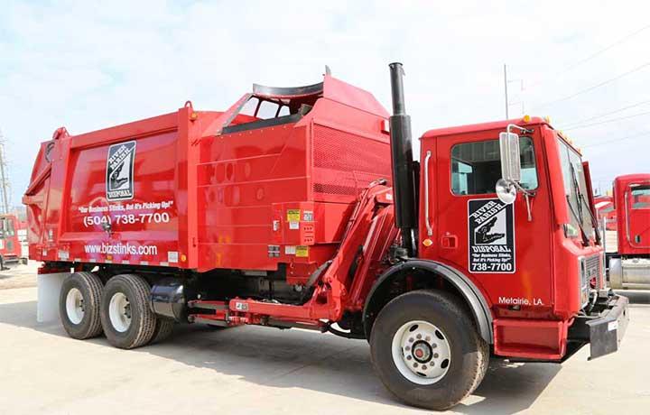side-loading garbage trucks
