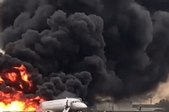 Russian Plane Erupts in Fire