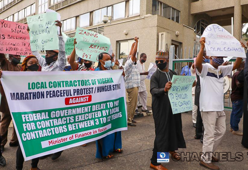 Contractors Stage Protest at Ministry of Finance