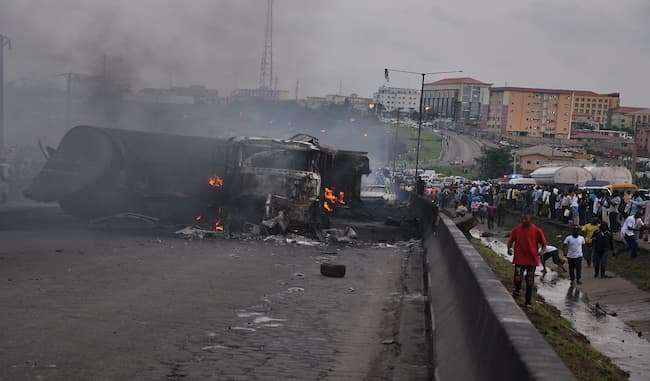 Fire Breaks Out On Otedola Bridge After Petrol Tanker, Container Truck Collide