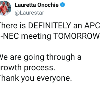 Twitter Archives Shows Lauretta Onochie's Claim Of Quitting Partisan Politics In 2019 Is False