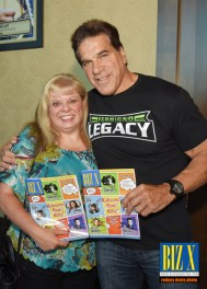 Biz X magazine Publisher Deborah Jones with Lou Ferrigno and the October issue of Biz X magazine