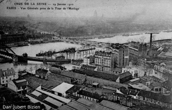 Paris-crue-1910--vue-gare-de-Lyon