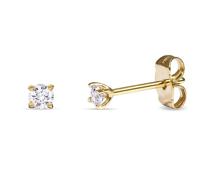 """Обеци от жълто злато с бели диаманти """"Stars"""" E03WY"""