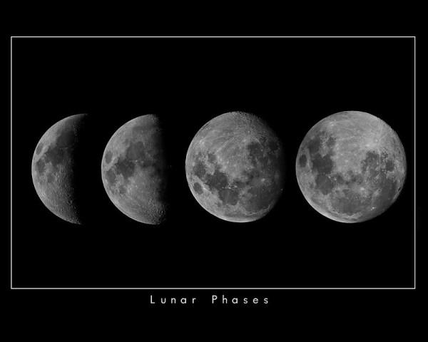 Les differentes phases de la lune durant un cycle lunaire
