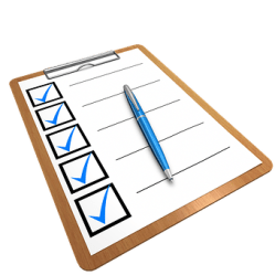 Clipboard with a checklist