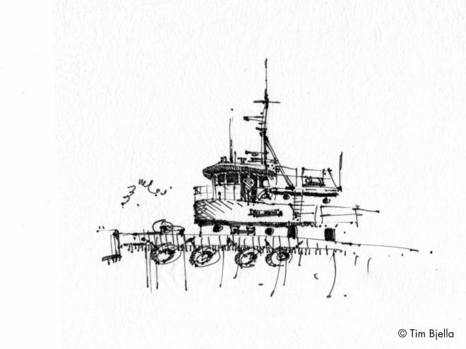 Tim Bjella Sketches- - Seattle Tugboat