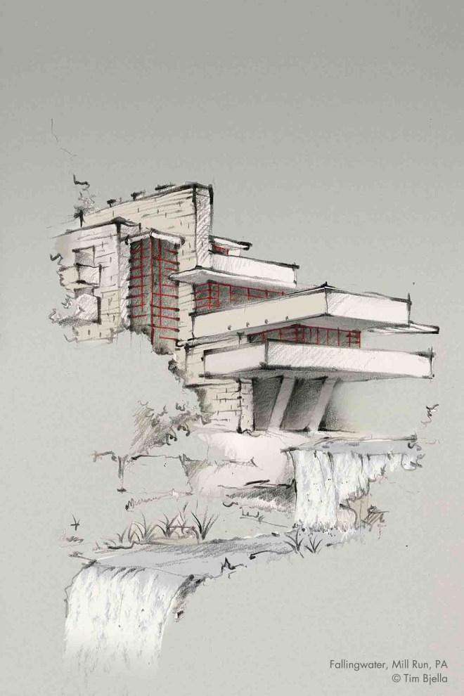 Tim Bjella Sketches-Falling Water