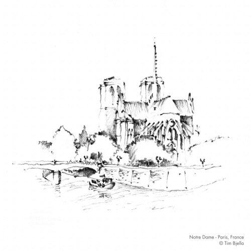 Tim Bjella Sketches - Paris - Notre Dame