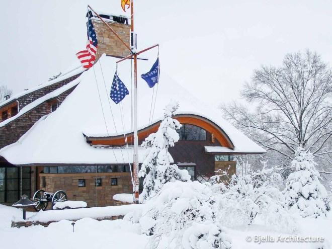Winter wonderland snow covered home in Missouri