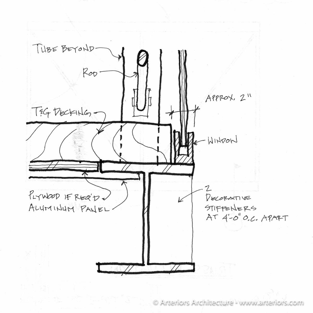 Preliminary detail for glass bridge
