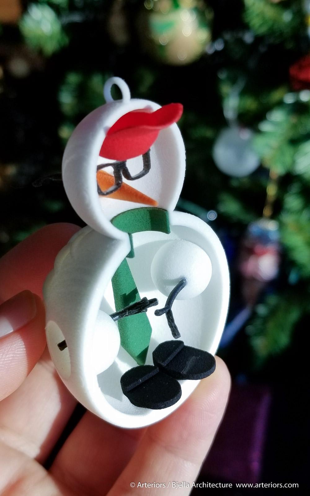 Snowman Ornament 1 - 3d printed - by Tim Bjella-4