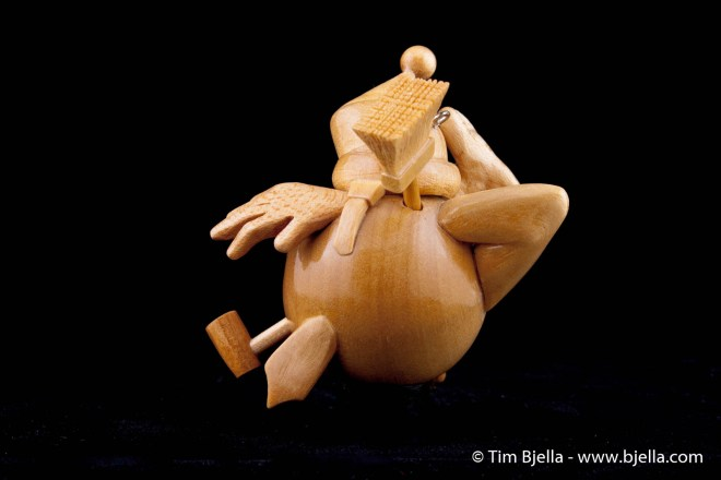 Carved Wood Snowman Christmas Ornament by Tim Bjella