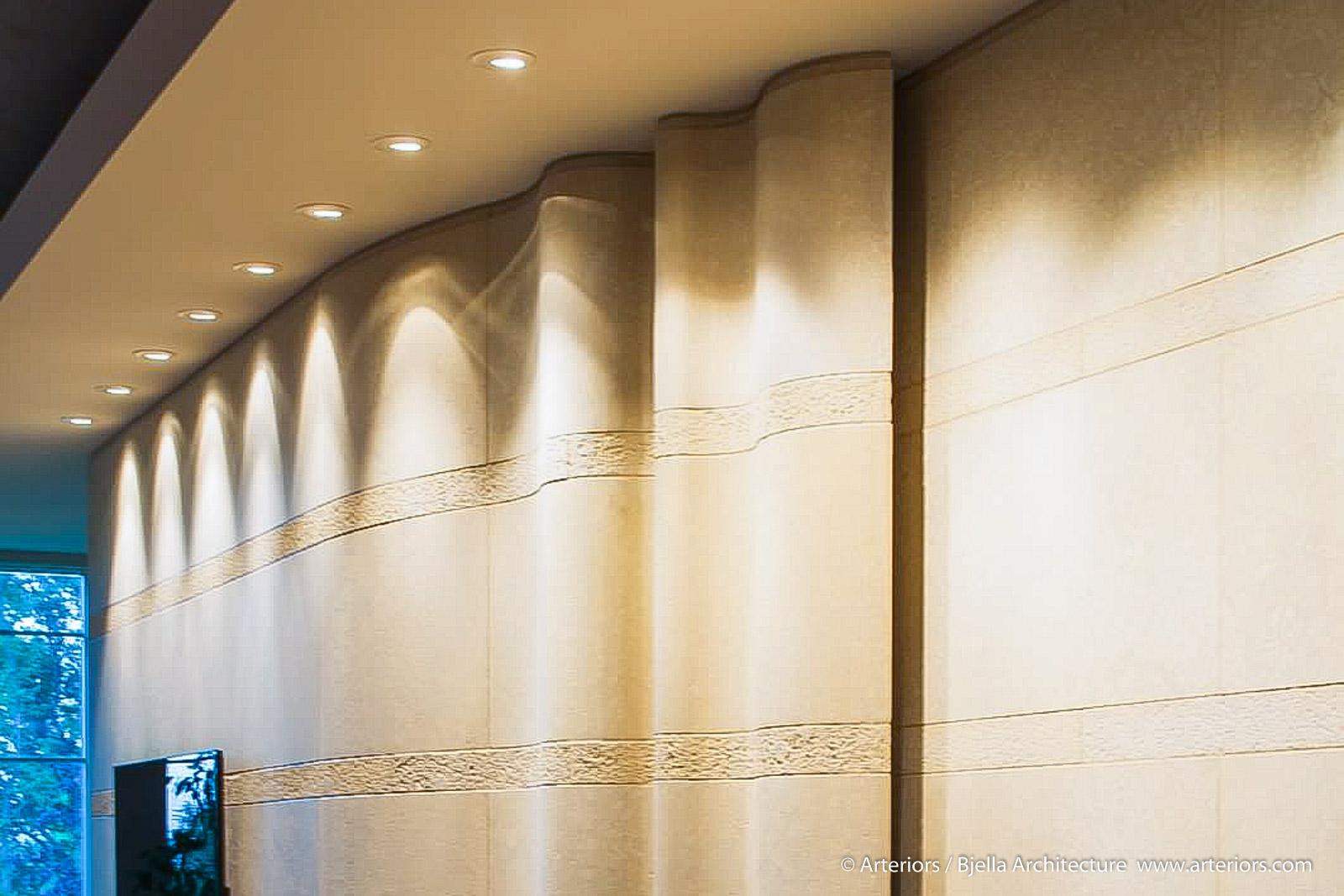 Undulating Stone Wall by Tim Bjella of Arteriors Architects