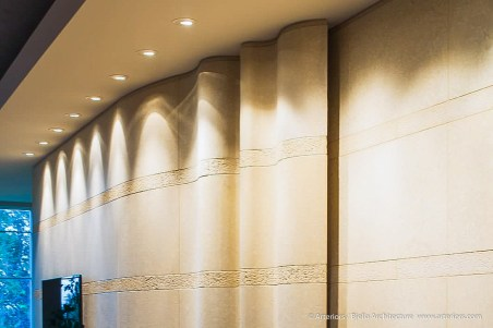 Undulating Stone Wall by Tim Bjella of Arteriors Architects
