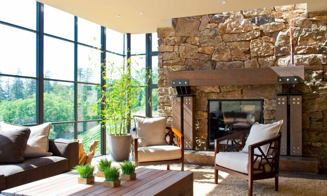 Interior Home Design Mountain Living Room of Glass by Bjella Architects