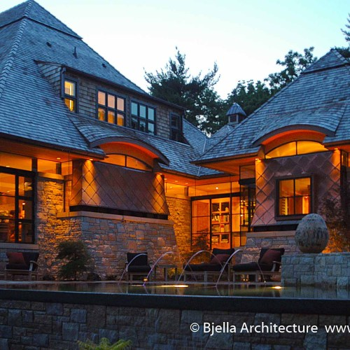 Evening View Modern Copper Clad and Stone House Design in St Louis, Missouri by Bjella Architecture