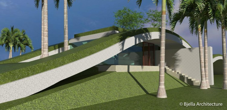 Modern Wavy Sustainable Concept Home in Kauai, Hawaii by Bjella Architects