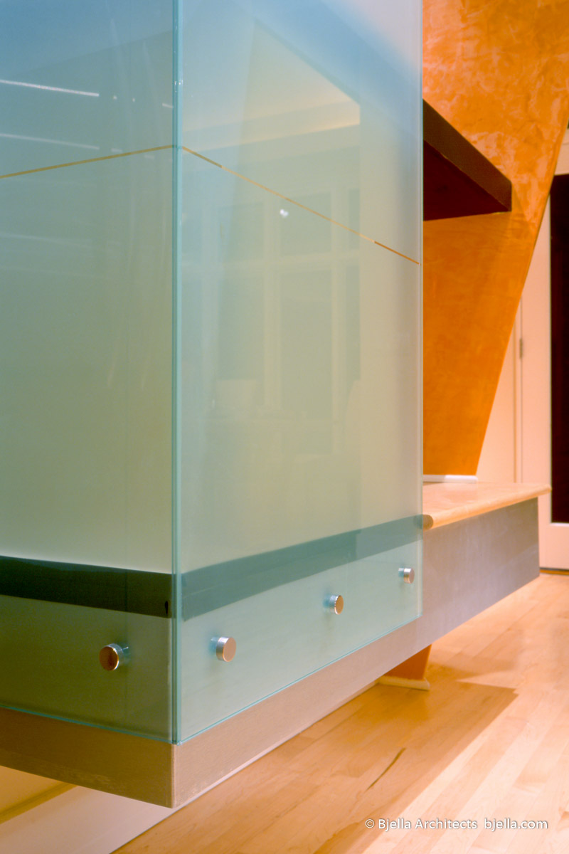 Lively Modern Orange Kitchen Glass Wall Detail