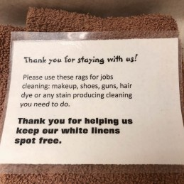 A notice in the hotel room (as if we didn't know).