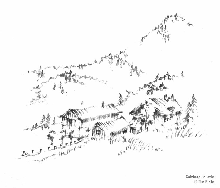 Sketch of mountain village in Austria