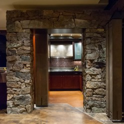 Stone Arch Portal into Winery Kitchen