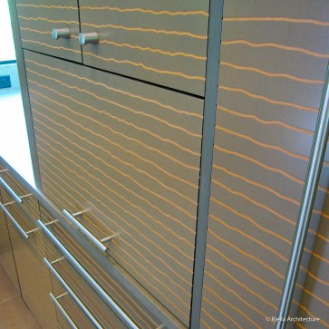 Cool Modern Kitchen Cabinet Detail with Wavy Lines