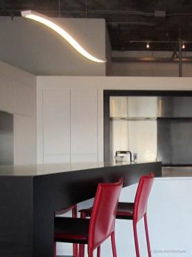 Modern Minimal White and Red Kitchen