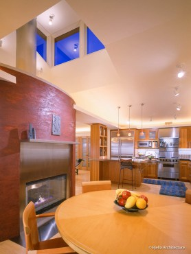 Cherry Dinette with Modern Fireplace