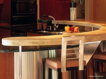Modern Curved Concrete Countertop with Stainless Steel Front