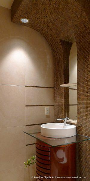 Tiny Round Wood Cylinder Bathroom Vanity by Tim Bjella of Bjella Architects