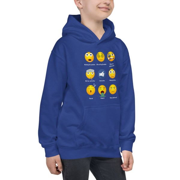 Youth/Kids BJJ Hoodie – Brazillian Jiu-Jitsu 9 Shades Emoji Emoticons 5