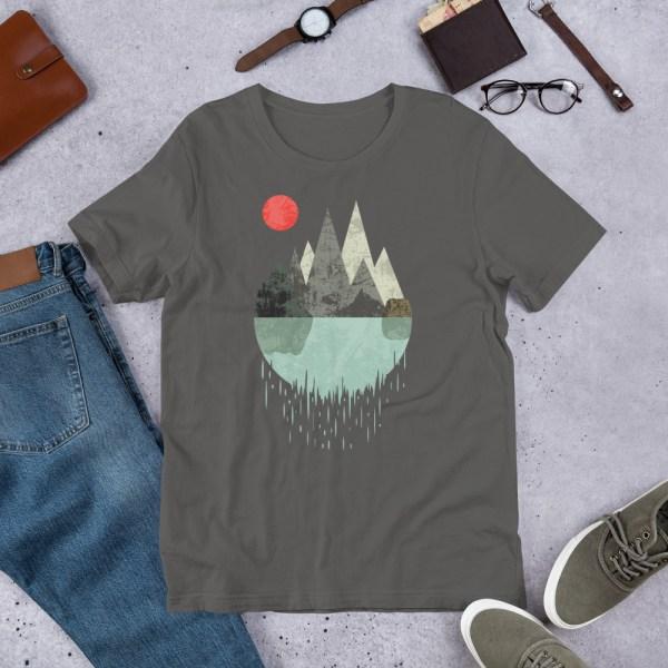 T-Shirt Geometric Graphic design - Mountains Lake Sun 4