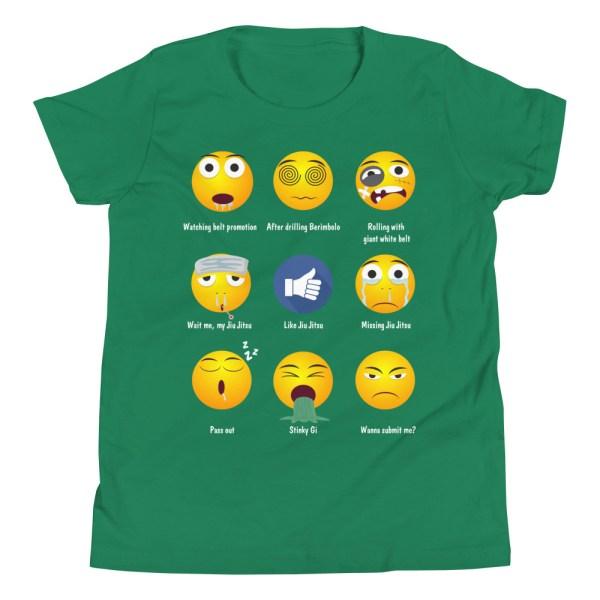 Youth/Kid BJJ T-Shirt - Brazillian Jiu-jitsu 9 Shades Emoji Emoticons 4
