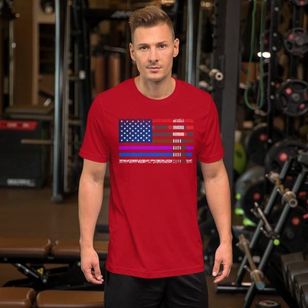 BJJ T-Shirt  for men - BJJ belts and stripes in American Flag 7