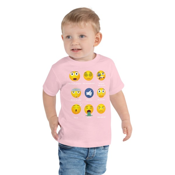 BJJ Toddler Short Sleeve Tee for baby Brazillian Jiu-Jitsu 9 Shades Emoji Emoticons 3