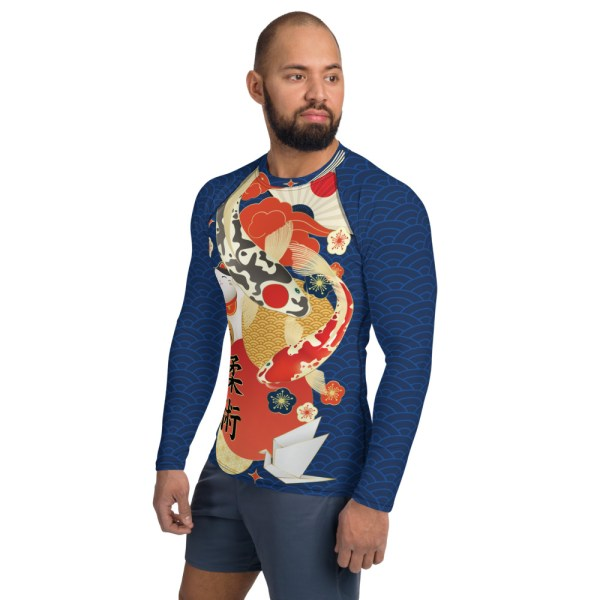 BJJ Men's Rash Guard Koi Fish Ancient Japanese Style 3
