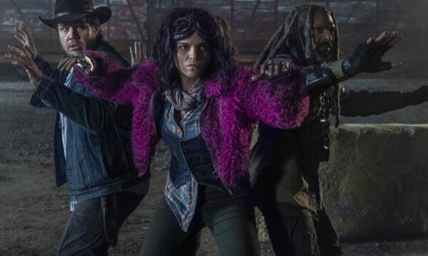Khary Payton as Ezekiel, Josh McDermitt as Dr. Eugene Porter, Paola Lazaro as Princess - The Walking Dead _ Season 10, Episode 20 - Photo Credit: Josh Stringer/AMC