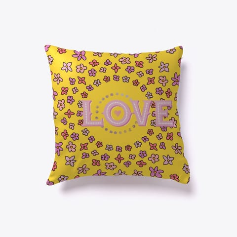 Floral Love Throw Pillow Yellow