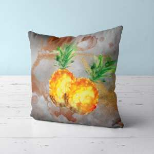 Beautiful watercolor pineapples overlaid on a unique copper background.