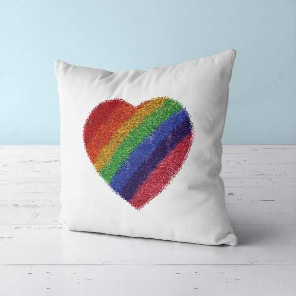 Pride Glitter Heart Throw Pillow
