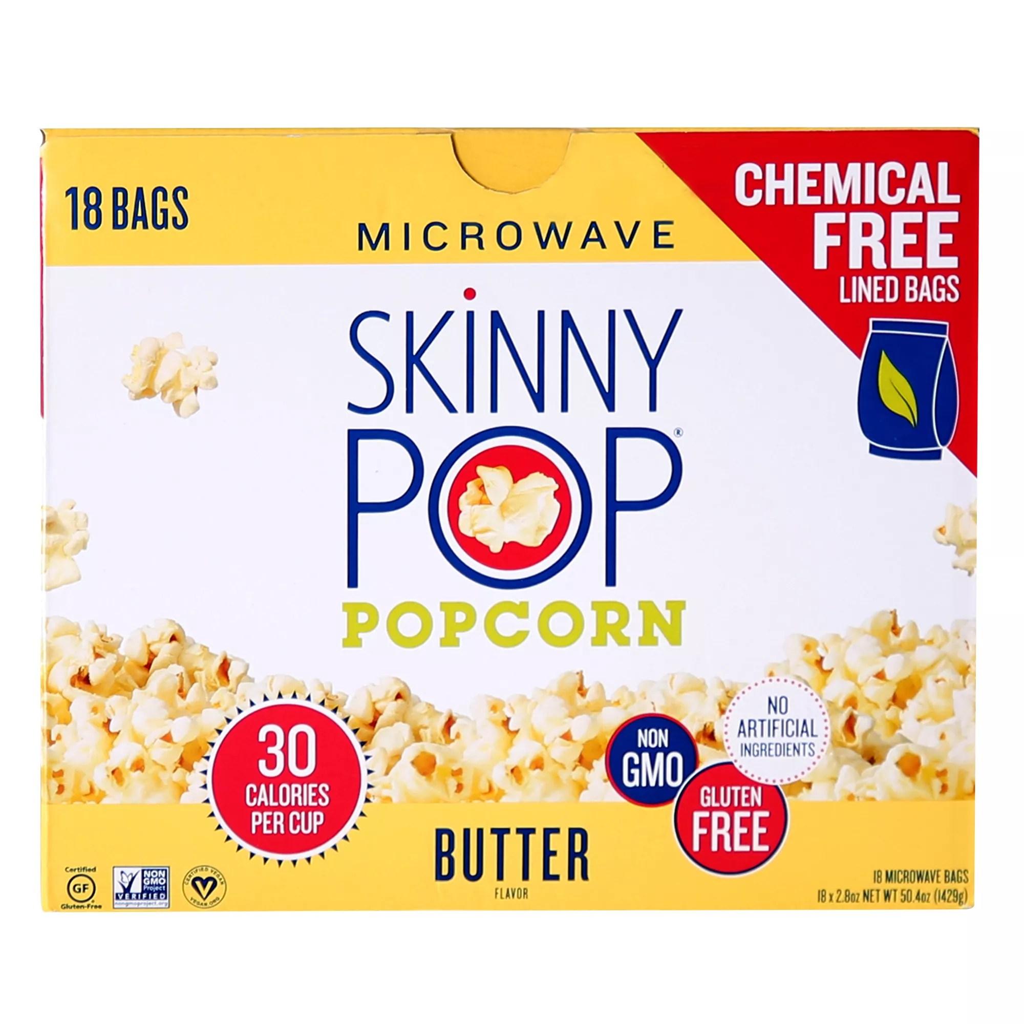 skinnypop butter flavor microwave popcorn 18 ct
