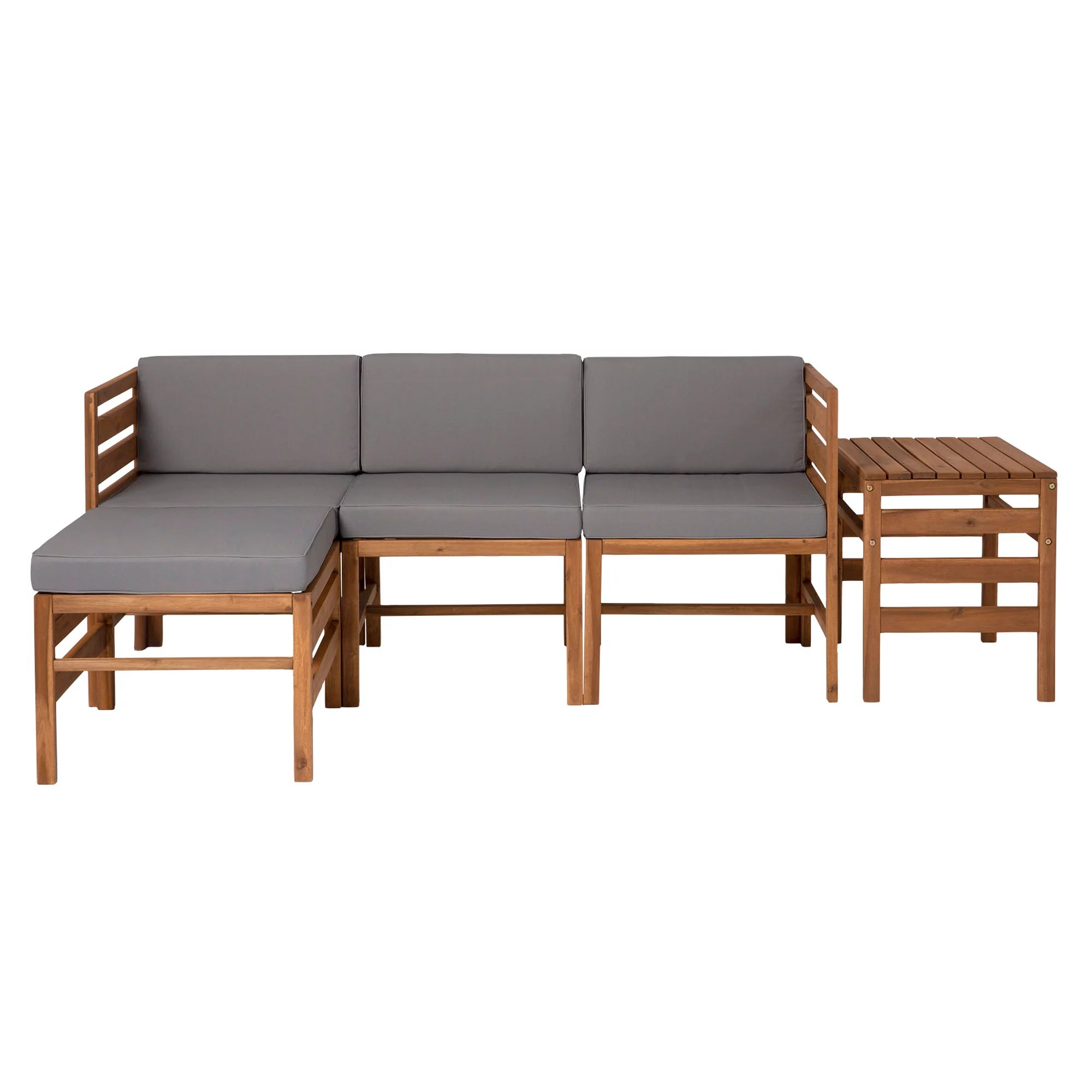 w trends 5 pc patio acacia chat set
